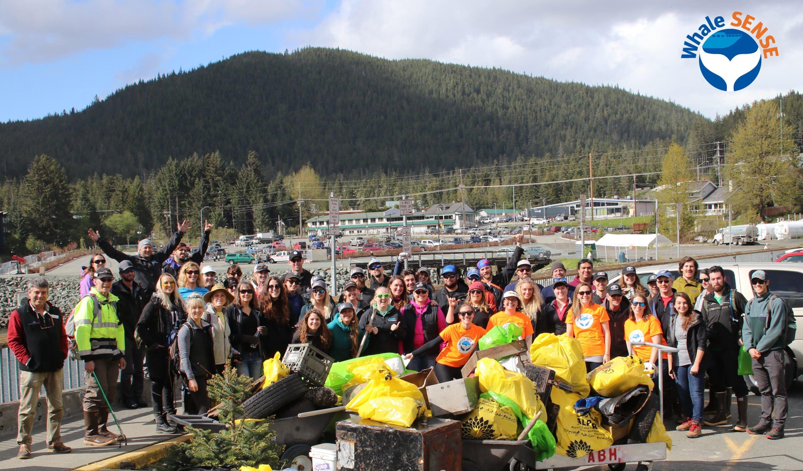 Juneau Whale SENSE companies at beach cleanup