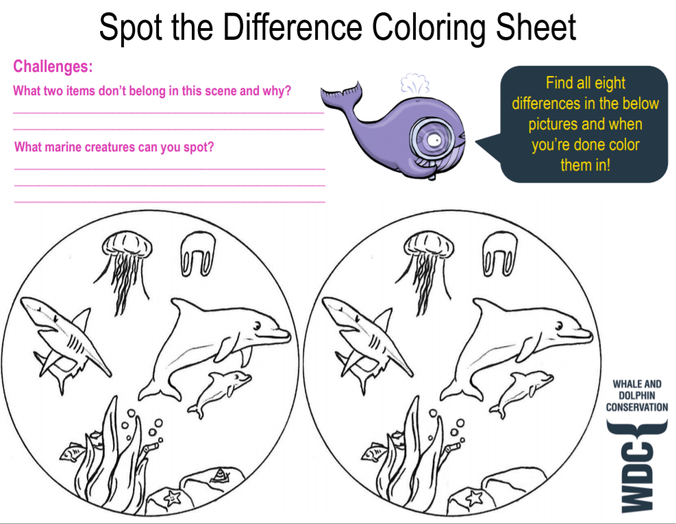 Spot the difference coloring sheet
