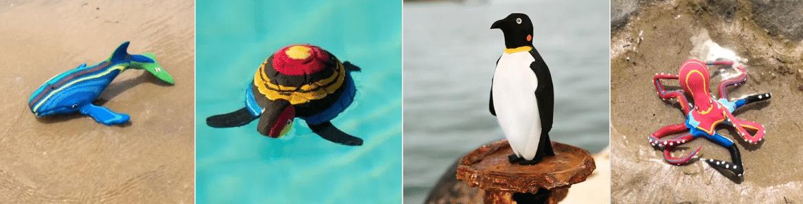Ocean Sole flip flop sculpture whale, turtle, penguin